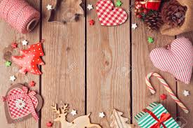 christmas background with rustic christmas decorations on wooden