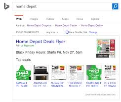 home depot hours black friday bing ads launches new black friday flyer ads in search results