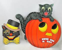 amazon com radko shiny brite halloween black cat u0026 pumpkin