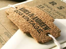 wedding invitations cork letterpressed and die cut cork tag for wedding invitations or to