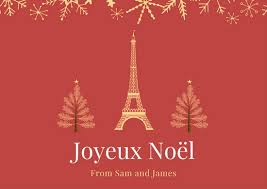 red eiffel tower christmas tree french postcard templates by canva