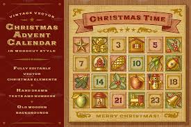 advent calendar vintage christmas advent calendar illustrations creative market