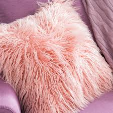 Faux Fur Throw Pillow Soft Pink Faux Fur Fluffy Throw Pillow Cover