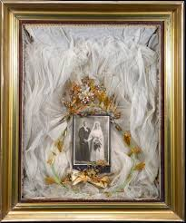 shadow box wedding cabinet card with veil and buttoner flickr
