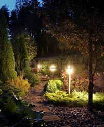 Patio Light Illuminated Home Garden Path Patio Lights And Plants In Evening