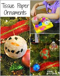 homemade christmas ornaments with tissue paper mess for less