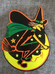nos vintage style beistle 2 sided cutout witch riding broom in