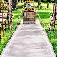 burlap wedding aisle runner burlap aisle runner 40 wide x choose your length lace trim