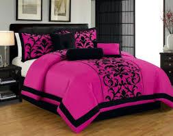 7pc luxury faux silk flocking damask print comforter set with
