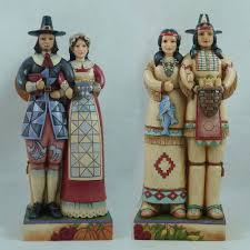 thanksgiving pilgrim figurines 10 inch enesco 4027801 jim shore heartwood creek two sided inchdians and