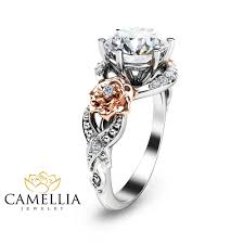 2ct moissanite engagement ring 14k two tone gold engagement
