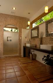 bathroom tropical bathroom ideas with wall mounted faucets and