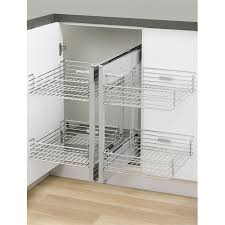 corner cabinet pull out shelf kaboodle blind corner 2 tier soft close pull out baskets bunnings