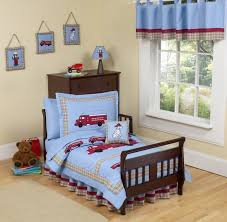 Red Blue Curtains Brown Wooden Children Simple Bed White Pattern Flower Pillow Blue