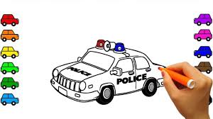 learn colors police car coloring pages street vehicles video