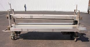 Used Stainless Steel Tables by Stainless Steel Two Level Coring Conveyor Inspection Belt Trim