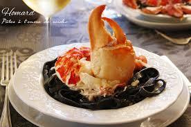 cuisine homard homard pâtes encre de seiche sauce parmesan