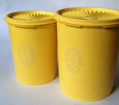 tupperware 2 piece canister set vintage harvest gold old