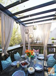 Patio Drapes Outdoor Deck Decorating Ideas Pergola Lights And Cement Planters