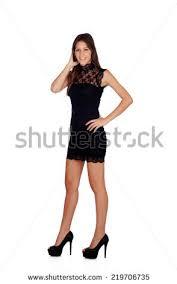 young smart brunette little black dress stock photo 7785961
