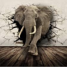 elephant living room beibehang 3d photo wallpaper realistic animal lying rhino lion