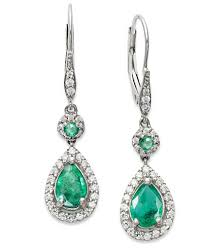pear drop earrings 14k white gold earrings emerald 1 3 8 ct t w and diamond 1 3