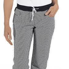 pantalon cuisine noir pantalon de cuisine femme ceinture en maille noir et blanc pepita