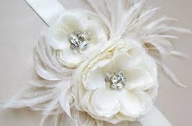 feather flower flower bridal sash