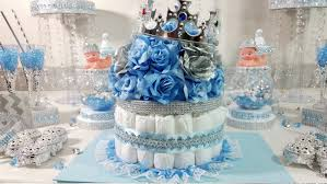 Baby Shower Centerpieces For Boy by Diaper Cake Boys Centerpiece With Crown For Royal Prince Baby