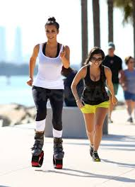 pictures kim and kourtney kardashian working out with pogo