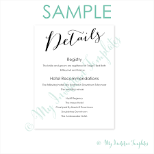 Wedding Registry Cards For Invitations Wedding Details Card Template Free Sample Calligraphy