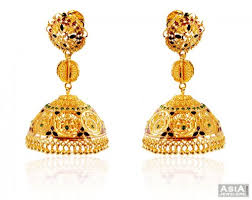 big jhumka gold earrings designer 22k big jhumka earrings ajer59180 stunningly deisgned