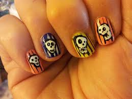 striped colorful skull nails easy nail art gallery step by step