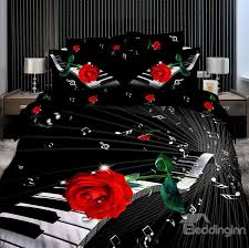 Rose Tree Symphony Comforter Set Elegant Piano With Red Rose 3d Print 4 Piece Cotton Duvet Cover