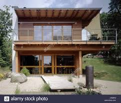 Flat Roof Residential House Outside Flat Roof Balcony Stone Garden