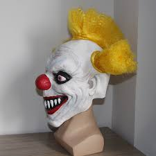Scary Clown Halloween Costumes Adults Merry Scary Clown Mask Wide Smile Latex Evil Creepy