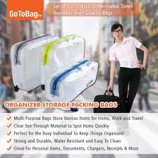 Amazon Travel Items 3 Pack Organizer Storage Packing Bags By Gotobag Clear Water