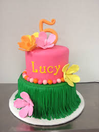 Luau Cake Decorations Luau Cake In Pink Green And Yellow With Hibiscus Cake By