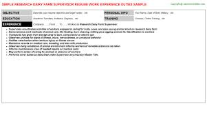Research Job Resume Poultry Farm Supervisor Resumes Samples