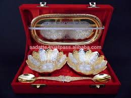 Wedding Gift Set Wedding Gift Gold And Silver Plated Bowls Spoon Tray Set Buy