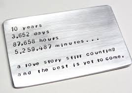 10 year anniversary gifts for him 10 year anniversary wallet card insert ten tin year gift