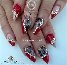 gel nail designs with rhinestones