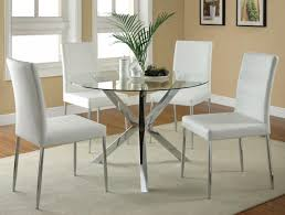 coaster vance glass top w chrome base dining set w white chairs