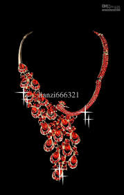 red crystal necklace set images Free ship hot beautiful red diamond crystal wedding jewelry set jpg