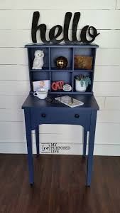 Small Writing Desk With Hutch Navy Blue Writing Desk Hutch Made From A Sewing Cabinet And An