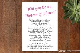 how to ask of honor poem will you be my matron of honor poem instant