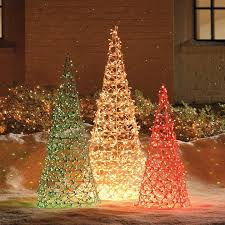 30 outdoor decoration ideas net lights cone trees