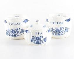 blue and white kitchen canisters blue white canisters etsy
