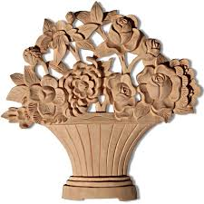 carved wood basket with flowers and wood carving