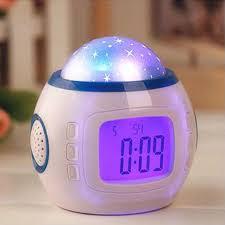 light projection alarm clock music starry star sky projector led night light projection alarm